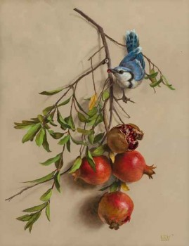 Bluejay and Pomegranates by Mary Kay  West