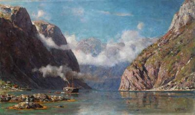 Steamer in the Naeroyfjord Norway by Henry Enfield