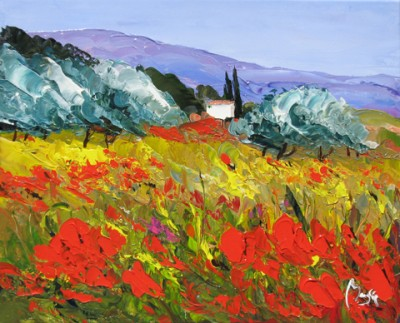 Poppies & Trees by Louis  Magre